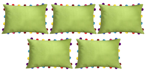 "Lushomes Palm Cushion Cover with Colorful Pom poms (5 pcs, 14 x 20"") - Lushomes"