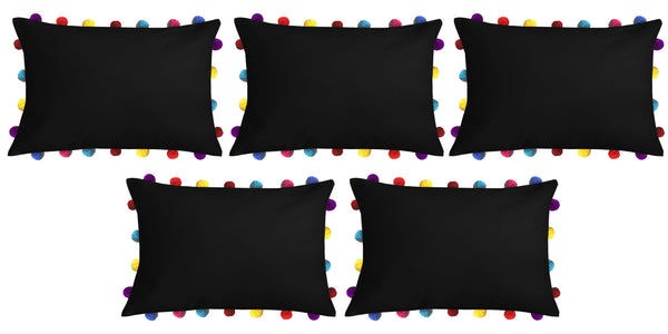 "Lushomes Pirate Black Cushion Cover with Colorful Pom poms (5 pcs, 14 x 20"") - Lushomes"