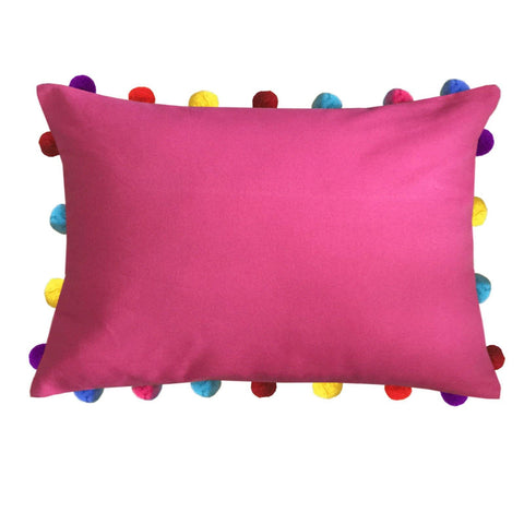 "Lushomes Rasberry Cushion Cover with Colorful Pom poms (Single pc, 14 x 20"") - Lushomes"