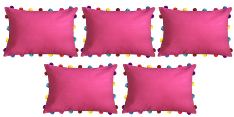"Lushomes Rasberry Cushion Cover with Colorful Pom poms (5 pcs, 14 x 20"") - Lushomes"