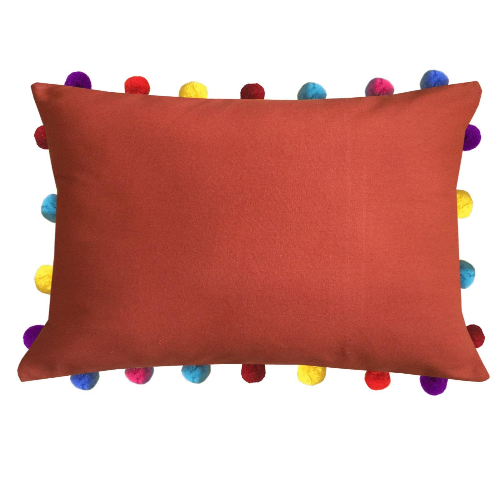 "Lushomes Red Wood Cushion Cover with Colorful Pom poms (Single pc, 14 x 20"") - Lushomes"