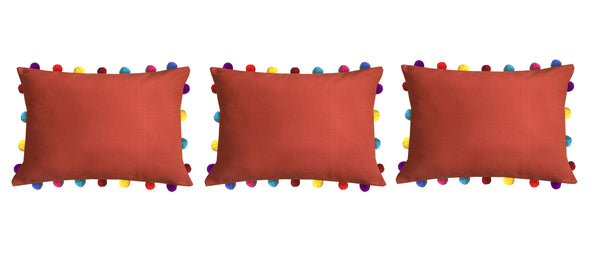 Lushomes Red Wood Cushion Cover with Colorful Pom poms (Single pc, 14 x 20‰۝)