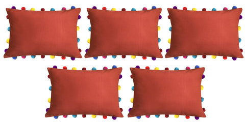 "Lushomes Red Wood Cushion Cover with Colorful Pom poms (5 pcs, 14 x 20"") - Lushomes"