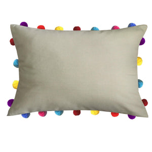 "Lushomes Sand Cushion Cover with Colorful tassels Pom poms (Single pc, 14 x 20"") - Lushomes"