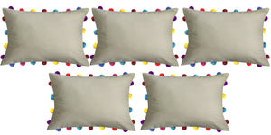 "Lushomes Sand Cushion Cover with Colorful tassels Pom poms (5 pcs, 14 x 20"") - Lushomes"