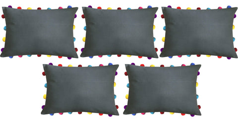 "Lushomes Sedona Sage Cushion Cover with Colorful Pom poms (5 pcs, 14 x 20"") - Lushomes"