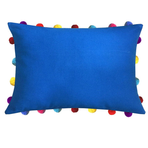 "Lushomes Sky Diver Cushion Cover with Colorful Pom poms (Single pc, 14 x 20"") - Lushomes"