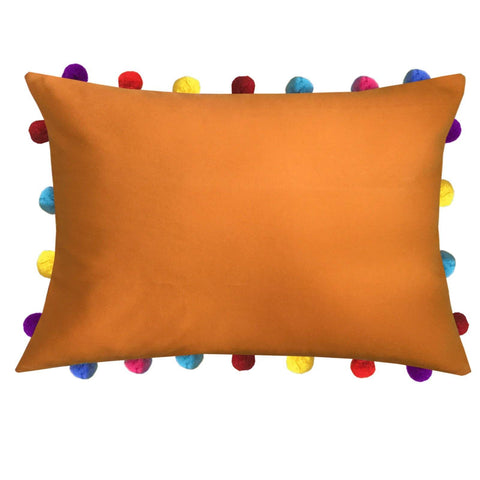 "Lushomes Sun Orange Cushion Cover with Colorful Pom poms (Single pc, 14 x 20"") - Lushomes"