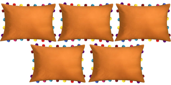 "Lushomes Sun Orange Cushion Cover with Colorful Pom poms (5 pcs, 14 x 20"") - Lushomes"