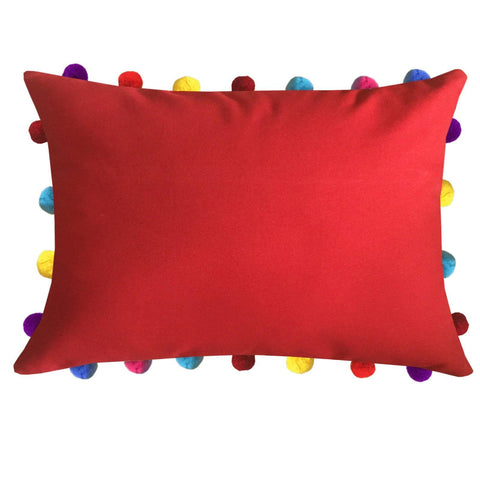 "Lushomes Tomato Cushion Cover with Colorful Pom poms (Single pc, 14 x 20"") - Lushomes"