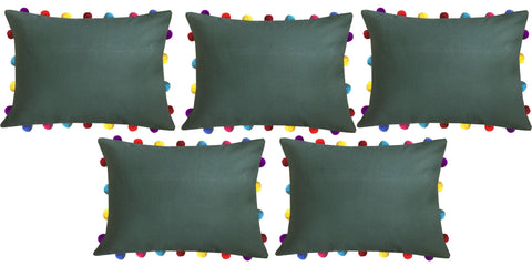 "Lushomes Vineyard Green Cushion Cover with Colorful Pom poms (5 pcs, 14 x 20"") - Lushomes"
