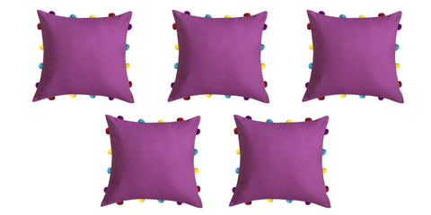 "Lushomes Bordeaux Cushion Cover with Colorful pom poms (5 pcs, 14 x 14"") - Lushomes"