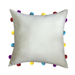 "Lushomes Ecru Cushion Cover with Colorful pom poms (Single pc, 14 x 14"") - Lushomes"