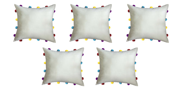Lushomes Ecru Cushion Cover with Colorful pom poms (Single pc, 14 x 14‰۝)