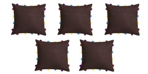 "Lushomes French Roast Cushion Cover with Colorful pom poms (5 pcs, 14 x 14"") - Lushomes"