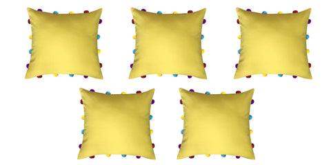 "Lushomes Lemon Chrome Cushion Cover with Colorful pom poms (5 pcs, 14 x 14"") - Lushomes"