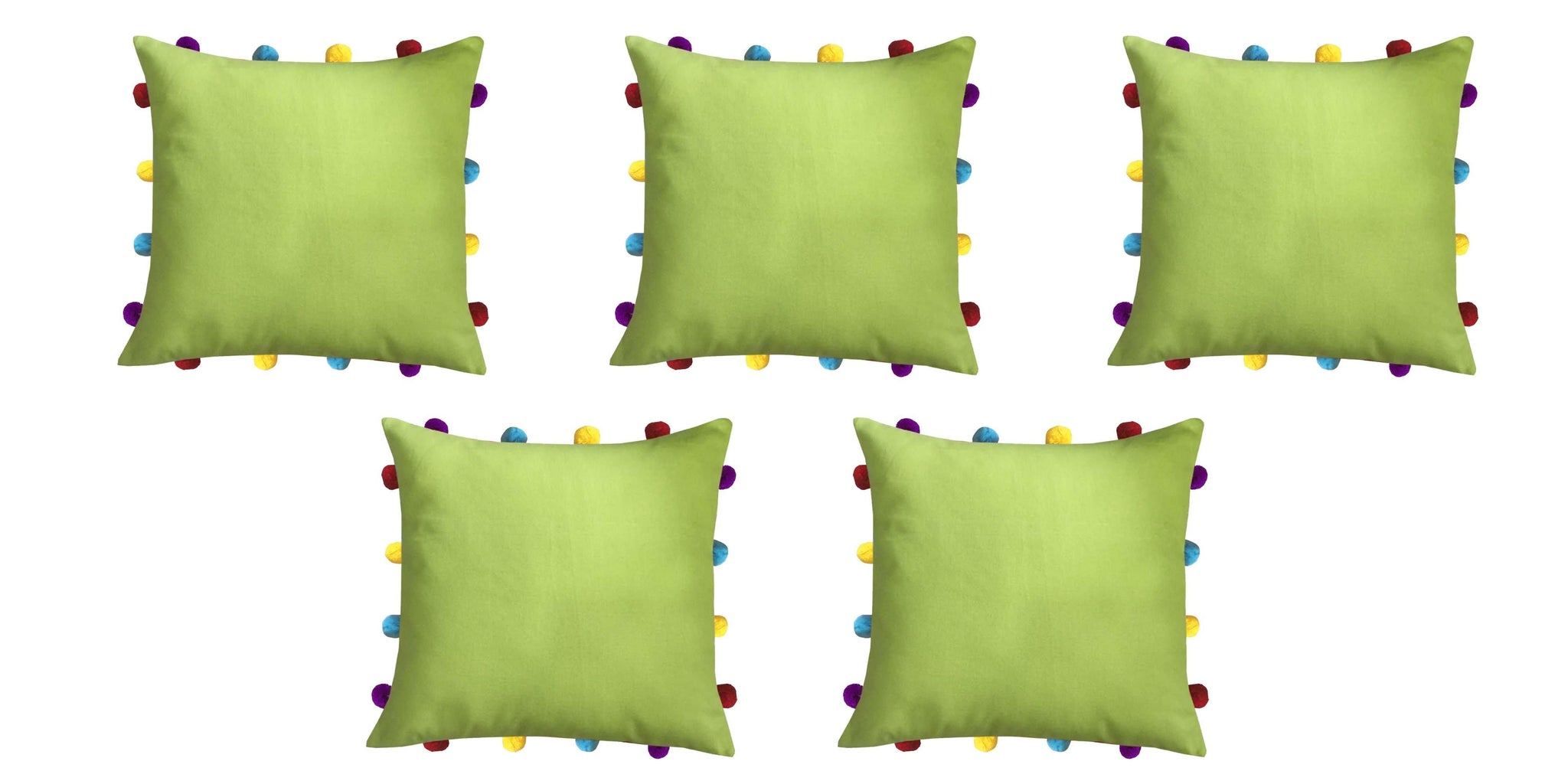 "Lushomes Palm Cushion Cover with Colorful pom poms (5 pcs, 14 x 14"") - Lushomes"