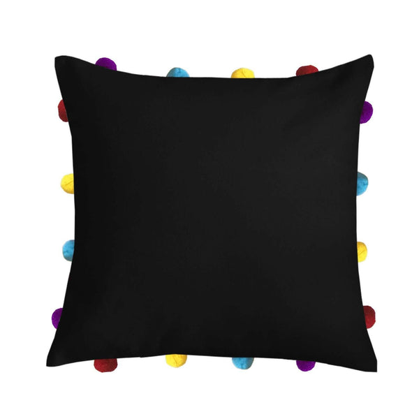 "Lushomes Pirate Black Cushion Cover with Colorful pom poms (Single pc, 14 x 14"") - Lushomes"