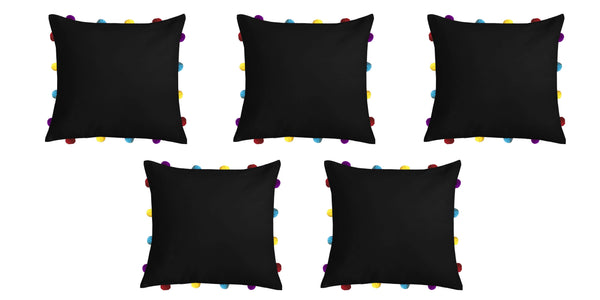 Lushomes Pirate Black Cushion Cover with Colorful pom poms (Single pc, 14 x 14‰۝)
