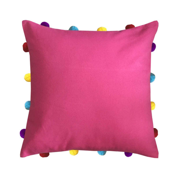 "Lushomes Rasberry Cushion Cover with Colorful pom poms (Single pc, 14 x 14"") - Lushomes"