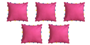 "Lushomes Rasberry Cushion Cover with Colorful pom poms (5 pcs, 14 x 14"") - Lushomes"