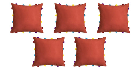 "Lushomes Red Wood Cushion Cover with Colorful pom poms (5 pcs, 14 x 14"") - Lushomes"