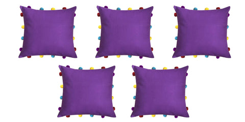 "Lushomes Royal Lilac Cushion Cover with Colorful pom poms (5 pcs, 14 x 14"") - Lushomes"