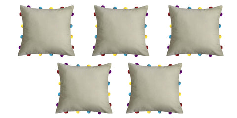 "Lushomes Sand Cushion Cover with Colorful pom poms (5 pcs, 14 x 14"") - Lushomes"
