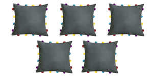 "Lushomes Sedona Sage Cushion Cover with Colorful pom poms (5 pcs, 14 x 14"") - Lushomes"