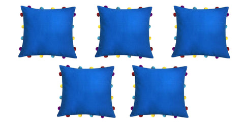 "Lushomes Sky Diver Cushion Cover with Colorful pom poms (5 pcs, 14 x 14"") - Lushomes"