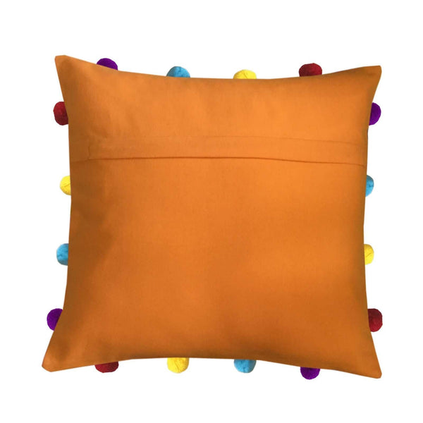 "Lushomes Sun Orange Cushion Cover with Colorful pom poms (Single pc, 14 x 14"") - Lushomes"