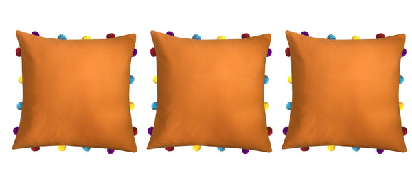 Lushomes Sun Orange Cushion Cover with Colorful pom poms (Single pc, 14 x 14‰۝)