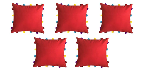 "Lushomes Tomato Cushion Cover with Colorful pom poms (5 pcs, 14 x 14"") - Lushomes"