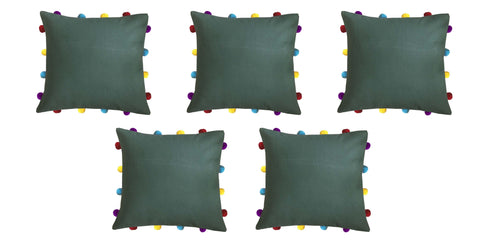 "Lushomes Vineyard Green Cushion Cover with Colorful pom poms (5 pcs, 14 x 14"") - Lushomes"