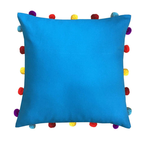 "Lushomes Bachelor Button Cushion Cover with Colorful pom poms (Single pc, 16 x 16"") - Lushomes"