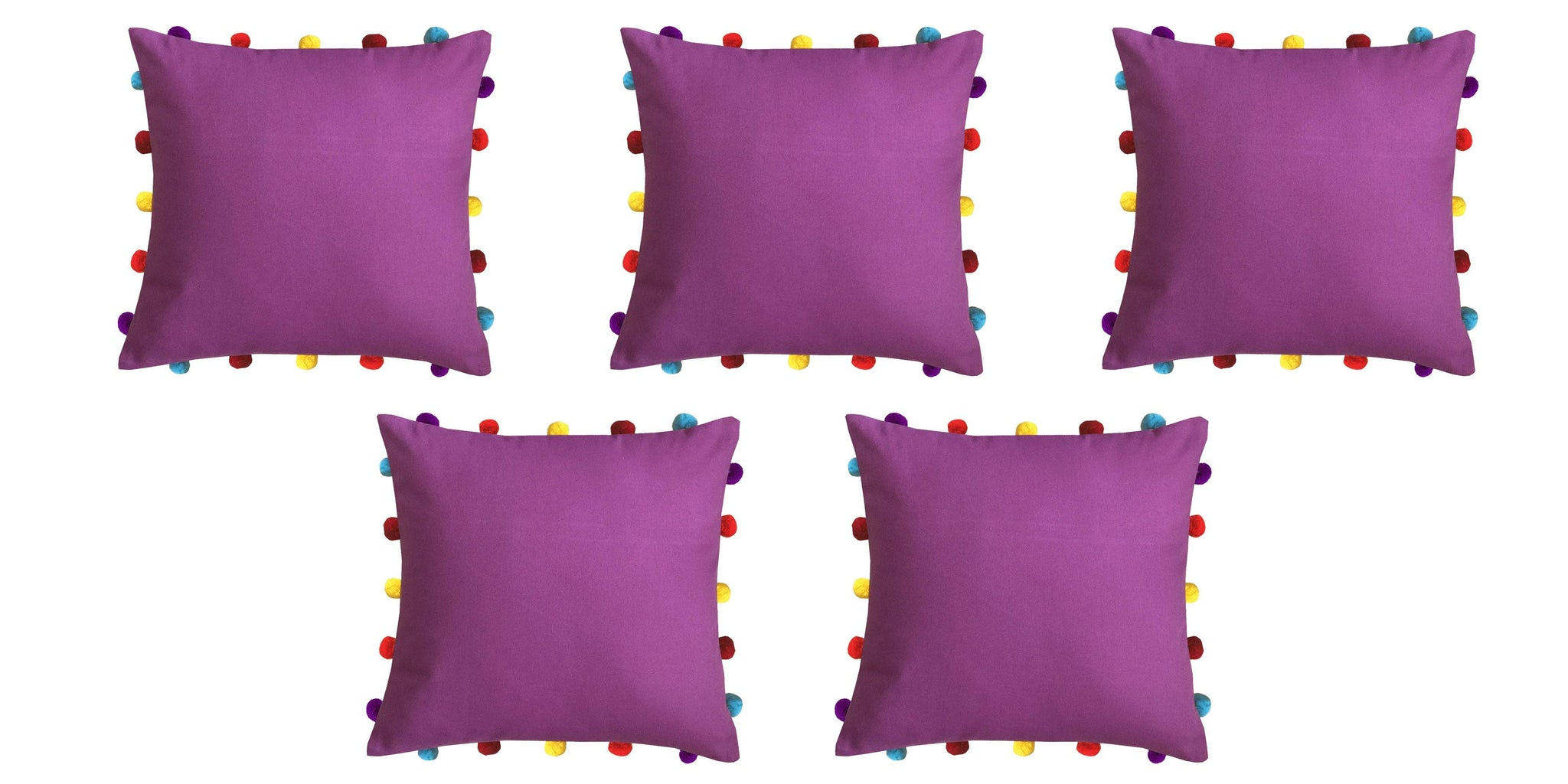 "Lushomes Bordeaux Cushion Cover with Colorful pom poms (5 pcs, 16 x 16"") - Lushomes"