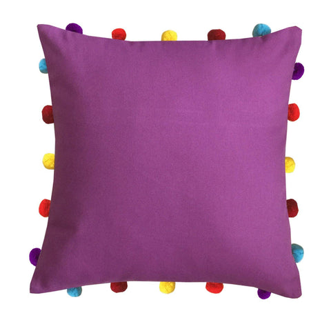 "Lushomes Bordeaux Cushion Cover with Colorful pom poms (Single pc, 16 x 16"") - Lushomes"