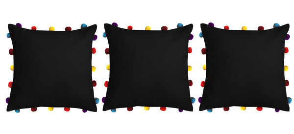 "Lushomes Pirate Black Cushion Cover with Colorful pom poms (3 pcs, 16 x 16"") - Lushomes"