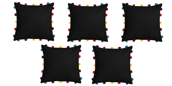 Lushomes Pirate Black Cushion Cover with Colorful pom poms (Single pc, 16 x 16‰۝)