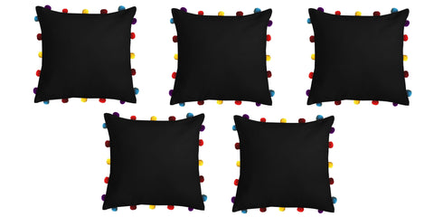 "Lushomes Pirate Black Cushion Cover with Colorful pom poms (5 pcs, 16 x 16"") - Lushomes"
