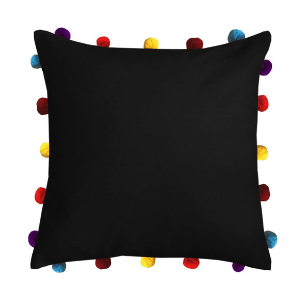"Lushomes Pirate Black Cushion Cover with Colorful pom poms (Single pc, 16 x 16"") - Lushomes"