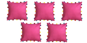 "Lushomes Rasberry Cushion Cover with Colorful pom poms (5 pcs, 16 x 16"") - Lushomes"