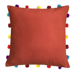 "Lushomes Red Wood Cushion Cover with Colorful pom poms (Single pc, 16 x 16"") - Lushomes"
