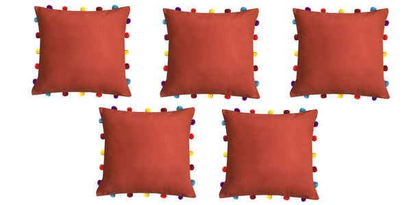 Lushomes Red Wood Cushion Cover with Colorful pom poms (Single pc, 16 x 16‰۝)
