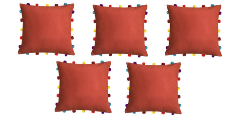 "Lushomes Red Wood Cushion Cover with Colorful pom poms (5 pcs, 16 x 16"") - Lushomes"