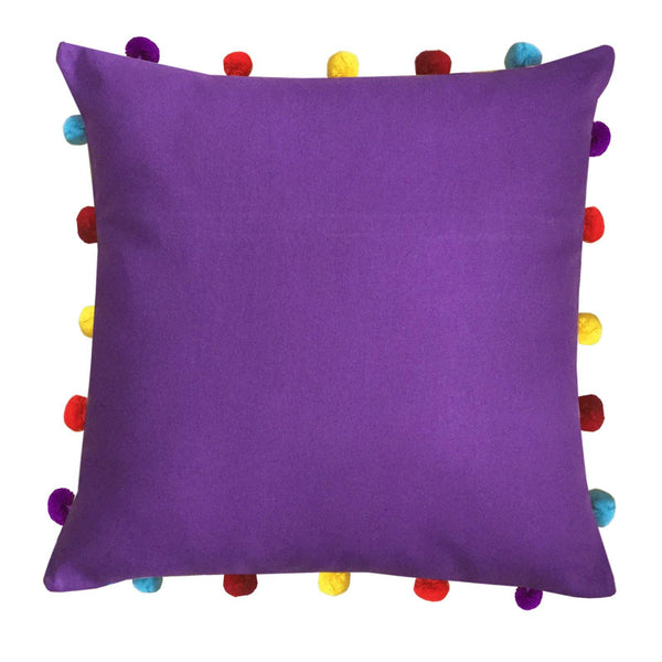 "Lushomes Royal Lilac Cushion Cover with Colorful pom poms (3 pcs, 16 x 16"") - Lushomes"