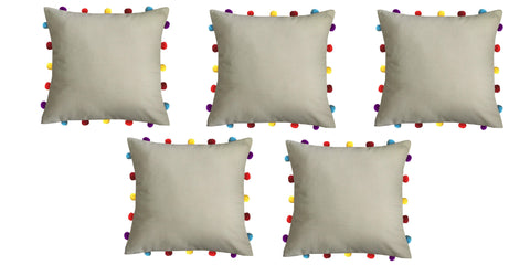 "Lushomes Sand Cushion Cover with Colorful pom poms (5 pcs, 16 x 16"") - Lushomes"