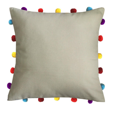"Lushomes Sand Cushion Cover with Colorful pom poms (Single pc, 16 x 16"") - Lushomes"