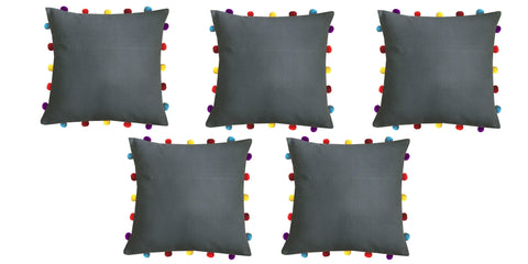 "Lushomes Sedona Sage Cushion Cover with Colorful pom poms (5 pcs, 16 x 16"") - Lushomes"