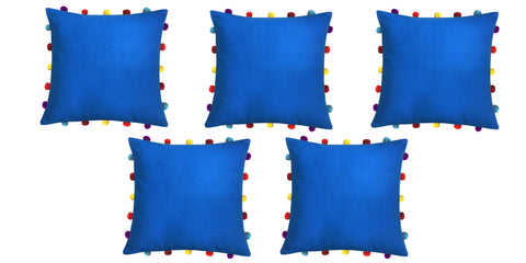 "Lushomes Sky Diver Cushion Cover with Colorful pom poms (5 pcs, 16 x 16"") - Lushomes"